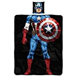 Marvel Captain America, 'First Avenger' Being the Character 11' x 11' Pillow and 40' x 50' Fleece...