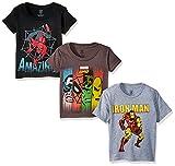 Marvel Super Heroes - Juego de Camisetas para niño (3 Unidades), Charcoal/Black/Heather Grey, 4...