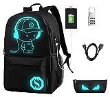 flymei Anime dibujos animados mochila con puerto de carga USB luminoso y el bloqueo antirrobo &...