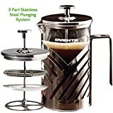 Ovente cafetera de prensa francesa (café y té, acero inoxidable de alta calidad, níquel...