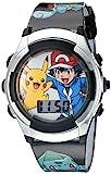 Pokémon - Reloj digital para niños con bisel plateado, correa negra, luces LED intermitentes –...