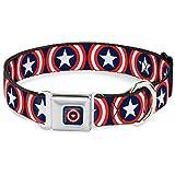 Hebilla para cinturón de seguridad con hebilla para perro – Capitán América Shield Repetir azul...