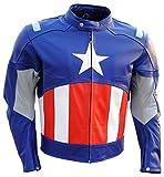 Coolhides Mens Capitán América 2chaqueta de piel,  Azul, XXXXX-Large