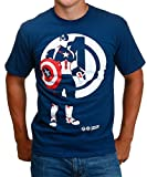 Marvel Avengers Age of Ultron Captain America Minimalist T-Shirt, Azul, X-Large