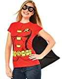 Rubie's Costume Company DC Comics Women's Robin T-Shirt With Cape And Eye Mask, Red, X-Large