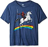 Marvel Deadpool Riding A Unicorn On A Rainbow - Playera para Hombre, Mezclilla Jaspeada, XX-Large