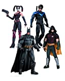 DC Collectibles Arkham City Paquete de 4 figuras de acción: Harley Quinn, Batman, Nightwing y Robin