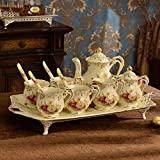 Tazas De Café Alto grado de regalo juego de tazas de cafe de porcelana de marfil con juego de té...