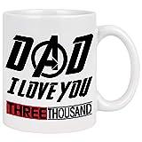 Love You 3000 Taza de caf con diseo de Iron Man para pap, regalo de Marvel, regalo para los hombres,...