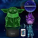 Star Wars 3D LED Luz de noche, Lmpara de ilusin Cuatro tipos y 16 colores Lmpara de decoracin Cambio...