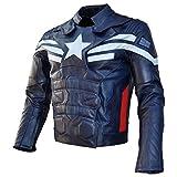 srhides de los hombres Motorcycle capitn Winter Soldier chamarra de piel, Cow Blue, Mediano