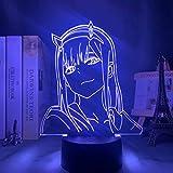 Lmpara De Ilusin 3D Luz Nocturna Led Anime Zero Two Children Baby Girls Decoracin Del Dormitorio...