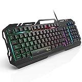 Teclado Gaming, WisFox Colorido Arco Lris LED Retroiluminacin USB con Cable Teclado, Teclado de...
