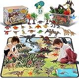 DigHealth 33 Pcs Dinosaurios Juguetes, Figura de Dinosaurios con Tapete de Juego y Arboles, Incluir...